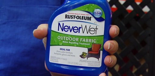 Bottle of NeverWet Outdoor Fabric Spray from Rust-Oleum.