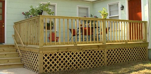 Wood deck on back of house.