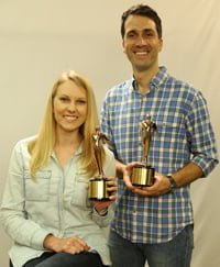 Chelsea Lipford Wolf and Brad Rodgers with Telly Awards.