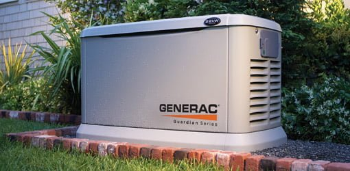 Generac Guardian standby generator in backyard.