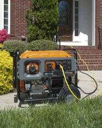 Portable generator in front of house..