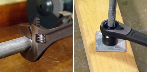 Crescent Adjustable pipe wrench and ratcheting pass-thru socket wrench.