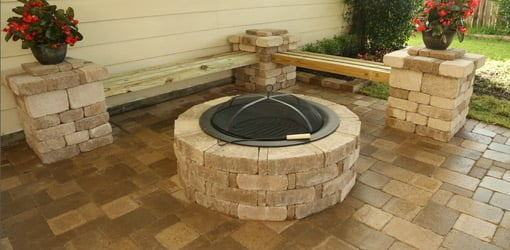 Paver patio with benches and fire pit.