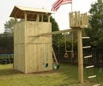 Completed wooden playset.