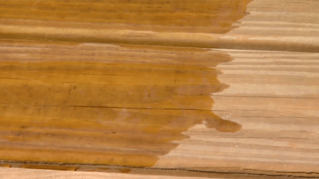 water on wood deck