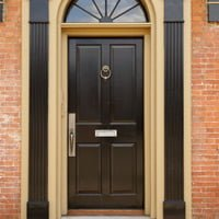Superbe Entry Door With Door Knocker And Mail Slot.