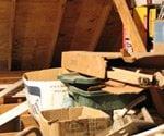 Boxes in attic.