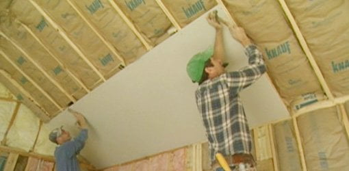 Hanging drywall on a vaulted ceiling