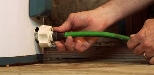 Attaching hose to hot water heater drain