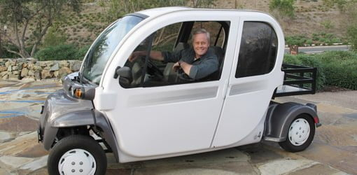 Danny Lipford saving gas by driving an electric car.