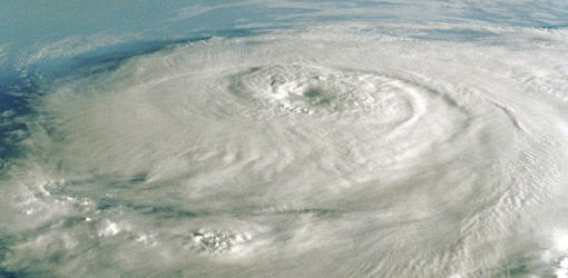 Satellite image of hurricane.