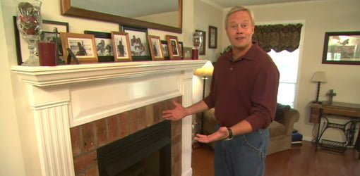 Danny Lipford with competed DIY fireplace mantel.