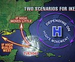 Hurricane forecast map.