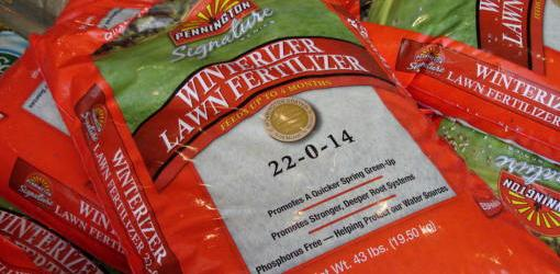 Bags of winterizer lawn fertilizer.