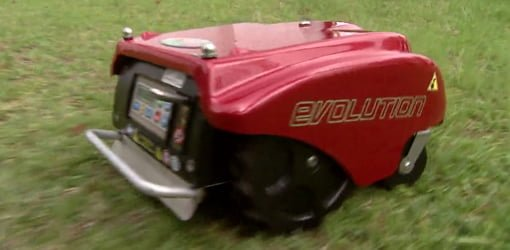 Eco-friendly electric LawnBott Evolution robot lawn mower.