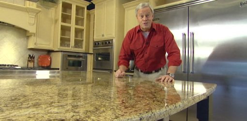 Danny Lipford with granite kitchen countertop.