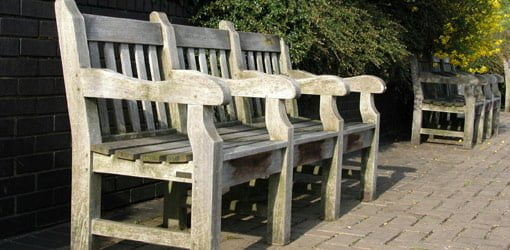 Weathered outdoor teak benches