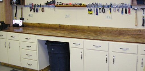 workbench made from old kitchen cabinets with plywood top - Plywood Kitchen Cabinets