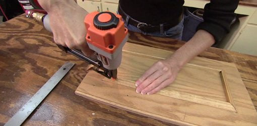 Attaching Mitered Molding To Stained Plywood Cabinet Doors
