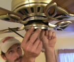 Installing paddle ceiling fan.