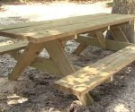 Finished wooden picnic table