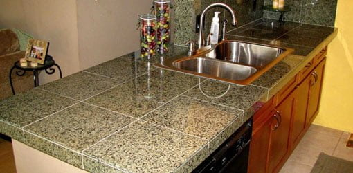 Granite tile countertop after installation