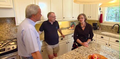Danny Lipford with homeowners in remodeled historic kitchen