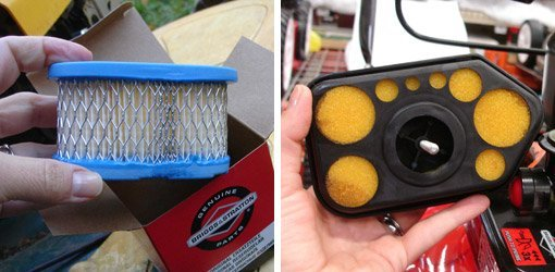 Disposable paper lawn mower air filter and reusable foam lawn mower air filter.