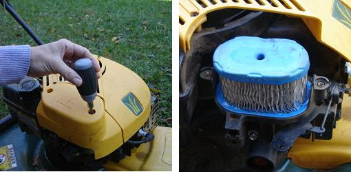 Unscrew cover on lawn mower air filter