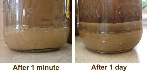 Soil settled out in jars