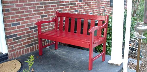 Refinished Red Painted Bench On Porch Part 37