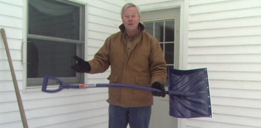 Danny Lipford with ergonomic snow shovel.