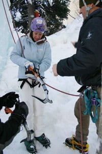 Preparing for ice climbing