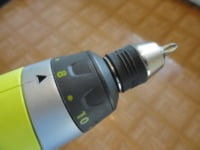 Cordless rechargeable battery powered drill chuck with torque settings