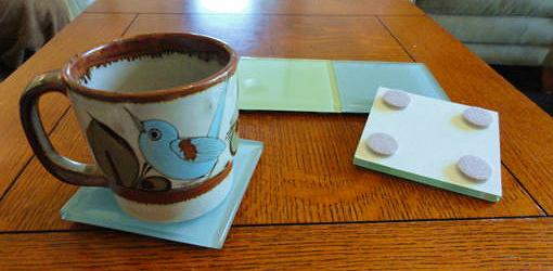 Tile Coaster On Table With Pads Coasters Made Using Gl