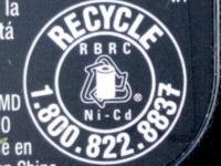 Recycle label on battery