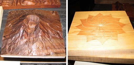 CDC router carving of Mt. St. Helens and inlay pattern