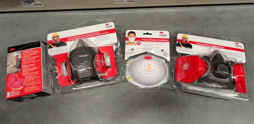 Various types of respirators and dust masks