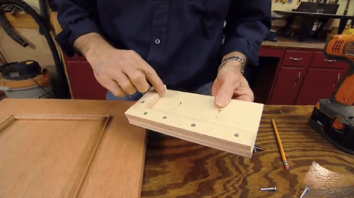 wooden jig for drilling holes for cabinet hardware
