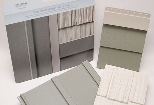 Dream Designer display board with color images of the products selected and actual samples of vinyl siding