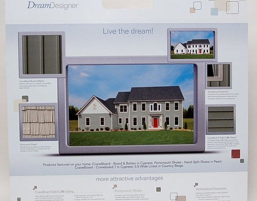 Dream Designer image of home in vinyl siding with info on products selected