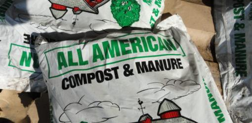 Bag of compost and manure fertilizer