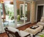 Family room with large sliding glass doors