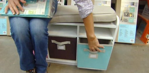 Opening a fabric drawer on the Cubbie Storage Bench by Martha Stewart Living