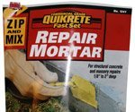 Label on bag of QUIKRETE® Zip & Mix Repair Mortar