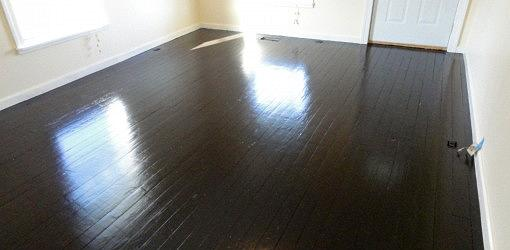 Wood Floor Painted A Darker Color This Paint Was More To Our Liking