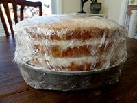 Coconut cake covered with plastic wrap