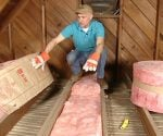 Joe Truini demonstrating how to insulate an attic on Today's Homeowner