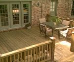 Completed wood deck on home