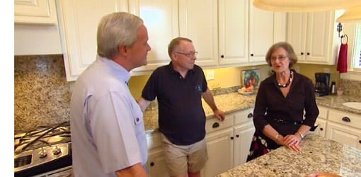 Danny Lipford questioning homeowners after kitchen remodel